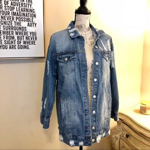 Love Tree Distressed Oversized Denim Jacket
